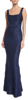 St. John Collection Sequined Knit Square-Neck Gown, Sapphire $1,995 thestylecure.com