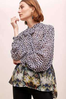 Sloane Conditions Apply Mixed-Print Peasant Blouse
