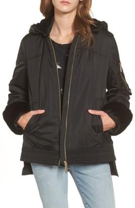 Women's Sam Edelman Faux Fur Trim Military Jacket