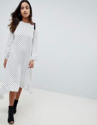 Asos DESIGN Soft Trapeze Midi Dress With Pephem In Spot
