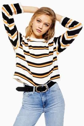 Topshop TALL Stripe Cut and Sew Sweatshirt