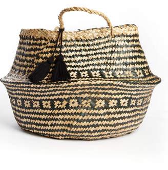 Dacor Bidk Black Woven Seagrass Fold Basket with Handle