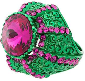 Gucci Crystal Pink and Green Pincushion Ring