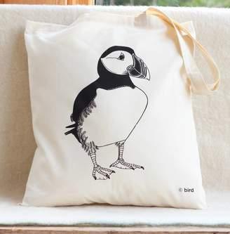 Bird Puffin Print Cotton Tote Bag