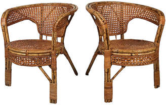 One Kings Lane Vintage Caned Rattan Chairs - Set of 2 - Tobe Reed
