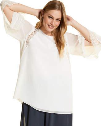 Marina Rinaldi Plus Size Foulard 3/4-Sleeve Silk Blouse