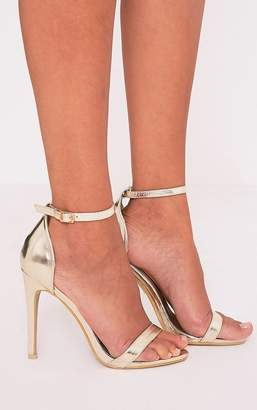 PrettyLittleThing Clover Gold Metallic Strap Heeled Sandals