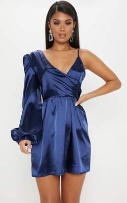 PrettyLittleThing Champagne Asymmetric Satin Shift Dress cac1ee07e