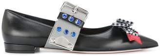 Miu Miu bow strap ballerina shoes
