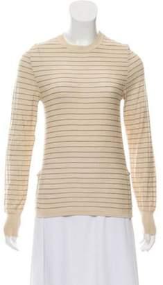 Burberry Striped Cashmere Top Beige Striped Cashmere Top