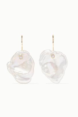 Mizuki 14-karat Gold, Pearl And Diamond Earrings