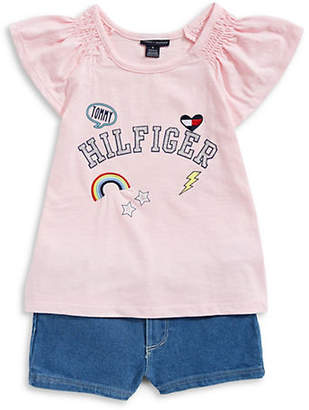 Tommy Hilfiger Flutter-Sleeve Top and Denim Shorts Set