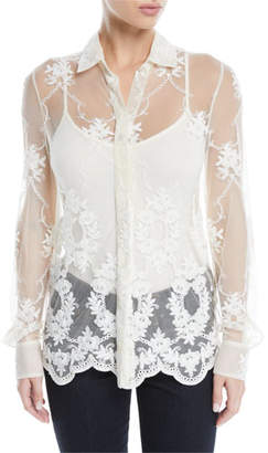 Brock Collection Baylee Button-Front Long-Sleeve Floral-Embroidered Tulle Shirt