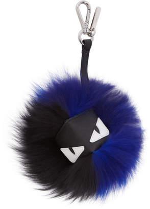 Fendi Black and Blue Fur Bag Bugs Keychain