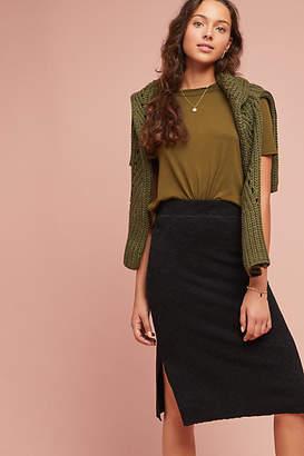 Bordeaux Brushed Fleece Pencil Skirt