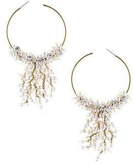 Oscar de la Renta Women's Faux Pearl & Goldtone Beaded Embellished Hoop Earrings