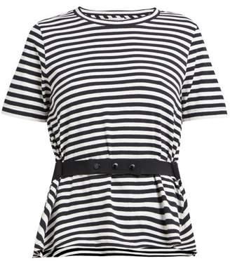 Moncler Striped Peplum Jersey T Shirt - Womens - Black White