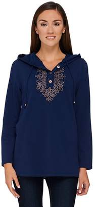 Susan Graver Artisan French Terry Hooded Pullover with Embellishment