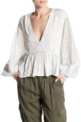 Free People Boogie All Night Embellished Blouse