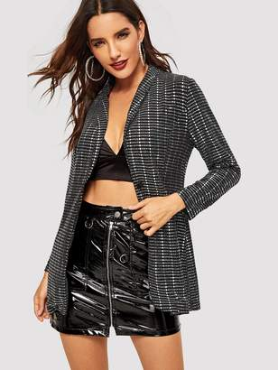 SheinShein Sequin Panel Shawl Collar Blazer