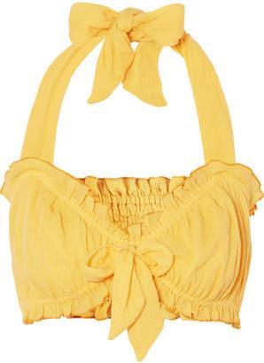 She Made Me Kali Bow-embellished Halterneck Crinkled-cotton Top - Yellow
