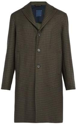 Altea - Houndstooth Wool Blend Overcoat - Mens - Brown Multi