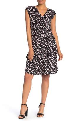 Robbie Bee Cap Sleeve Floral Print Dress