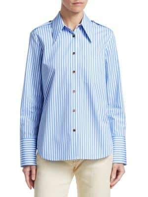 Khaite Diana Cotton Striped Shirt