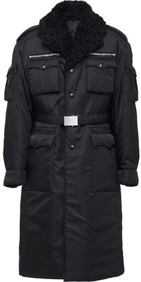Prada shearling collar military coat