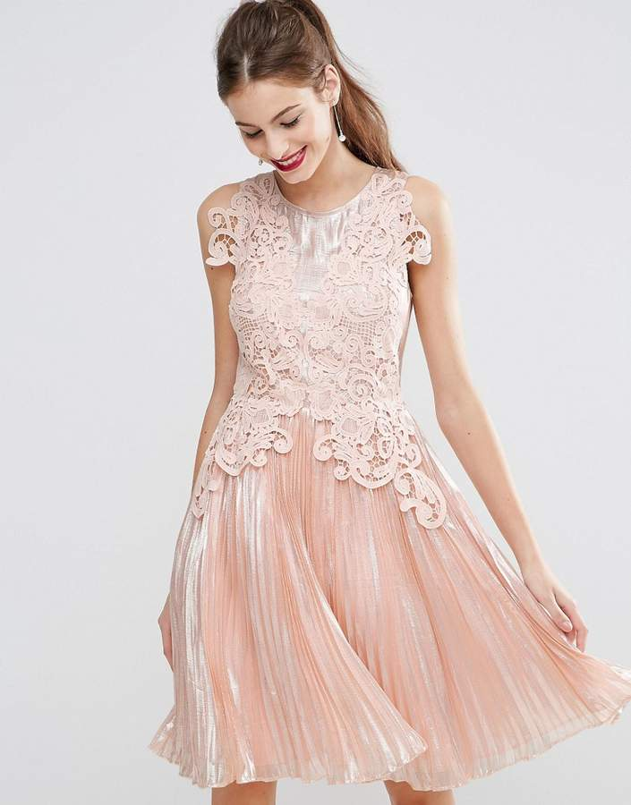 AsosASOS SALON Metallic Lace Applique Midi Skater Dress
