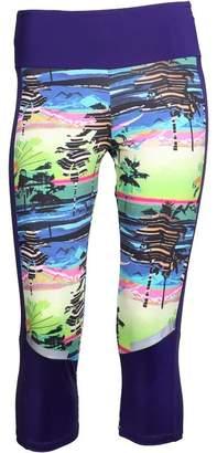 3c467fa576ce adidas Womens Salinas Climalite Palm Capri Leggings IV Navy Green Pink