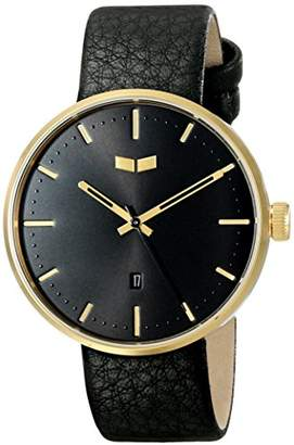 """Vestal Men's ROS3L007 """"Roosevelt"""" Stainless Steel Watch with Black Leather Band"""