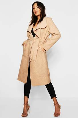boohoo Belted Waterfall Teddy Coat