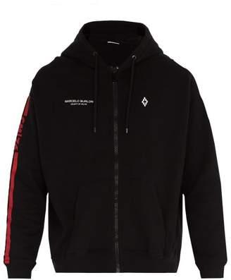 Marcelo Burlon County of Milan Wing Print Cotton Hooded Sweatshirt - Mens - Black