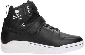 Mastermind World MASTERMIND WORLD Skull Print Hi Top Black Leather Sneakers