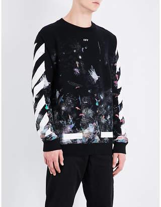 Off-White C/O Virgil Abloh Galaxy cotton-jersey sweatshirt $435 thestylecure.com