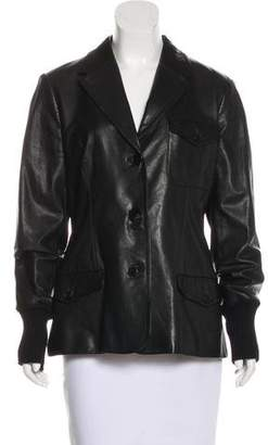 Hermes Leather Notch-Lapel Jacket