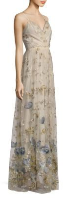 Elie Tahari Selma Metallic Embroidered Gown $1,398 thestylecure.com