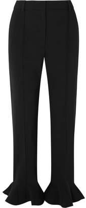 Valentino Ruffled Cady Straight-leg Pants - Black