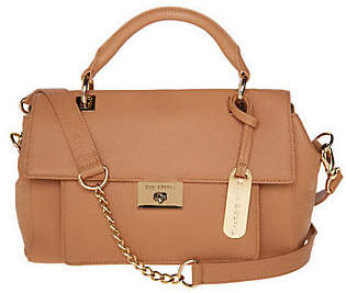 Emma & Sophia Leather Flap Front Satchel w/TurnLock Closure
