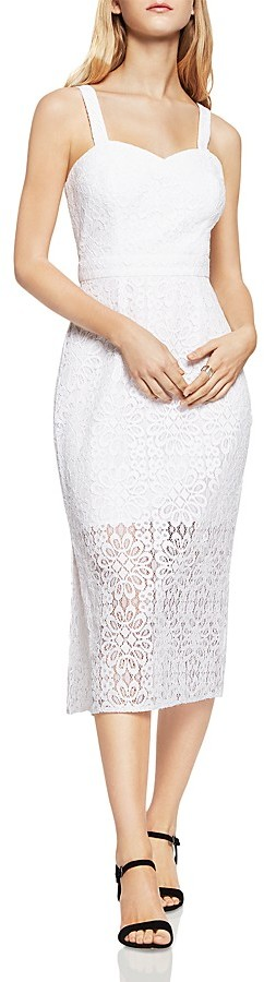 BCBGeneration BCBGeneration Midi Illusion Lace Sheath Dress
