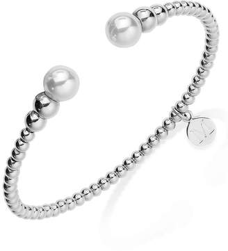 Majorica Silver-Tone Graduated Bead and Organic Man-Made Pearl Bangle Bracelet