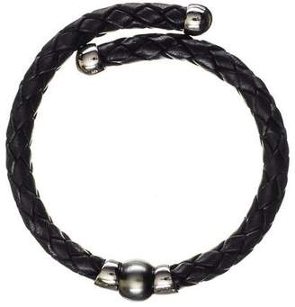 Black Oberon Tahitian Pearl Silver and Leather Bracelet