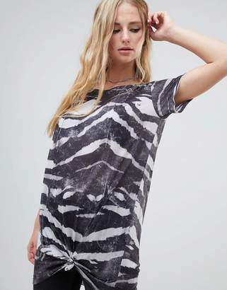 Religion knot tie front t-shirt dress in zebra print