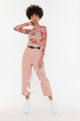 Nasty Gal Womens Take A Walk Paperbag Mom Trousers - Pink - S, Pink