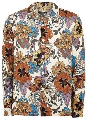 Topman Mens Stone Floral Revere Long Sleeve Shirt