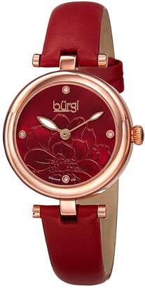 Burgi Women's Leather Diamond Watch