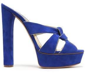 Casadei Knotted Suede Platform Sandals