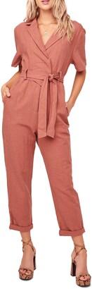 ASTR the Label Coco Linen Blend Utility Crop Jumpsuit