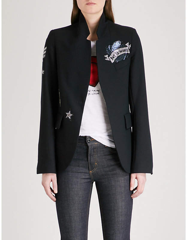 Embellished woven blazer